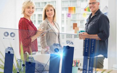 Percentages graphical representation against standing business team looking at the camera
